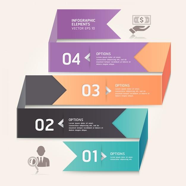 Современные стрелка оригами стиль чисел варианты. макет рабочего процесса, схема, веб-дизайн, инфографика. Premium векторы