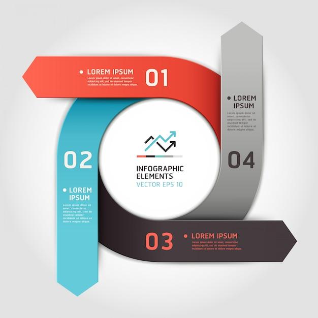 Современные стрелки круг активизировать варианты. макет рабочего процесса, схема, параметры номера, веб-дизайн, инфографика. Premium векторы