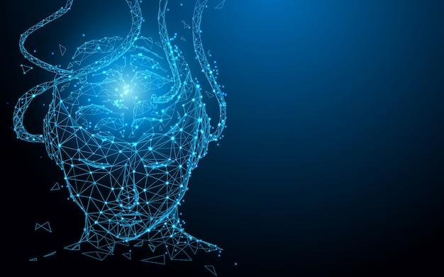 Человеческая голова формирует линии, треугольники и дизайн в стиле частиц. вектор иллюстрации Premium векторы
