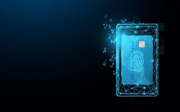 Смартфон с кредитной картой из линий, треугольников и частиц Premium векторы