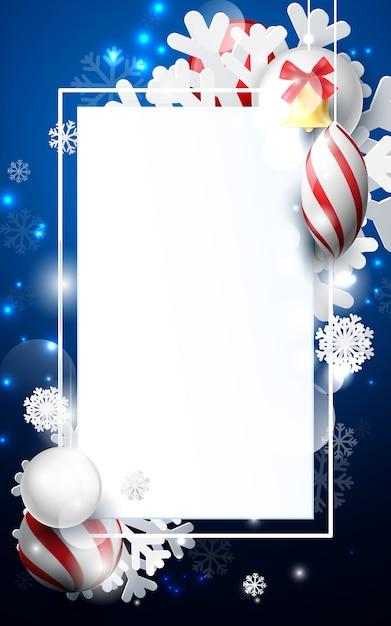 装飾品の雪片、金の鐘と暗い青色の背景に幾何学的な赤と白のクリスマスボール。 Premiumベクター