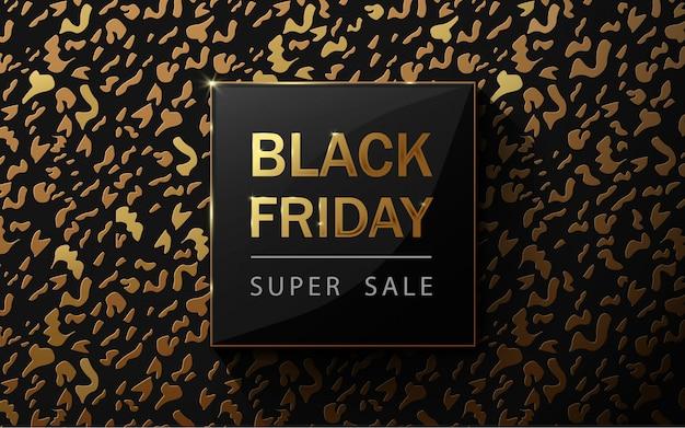 ブラックフライデーセールポスター。ヒョウ柄 。金と黒の豪華な背景。ペーパーアートとクラフトスタイル。 Premiumベクター