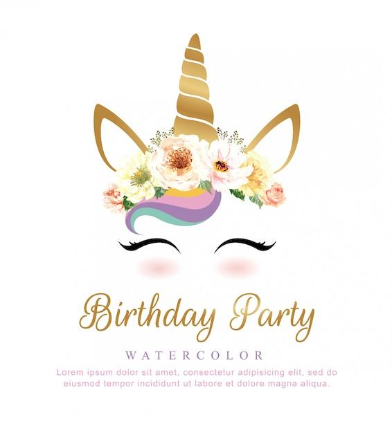 誕生日パーティーのための花の花束とかわいいユニコーンの水彩。 Premiumベクター