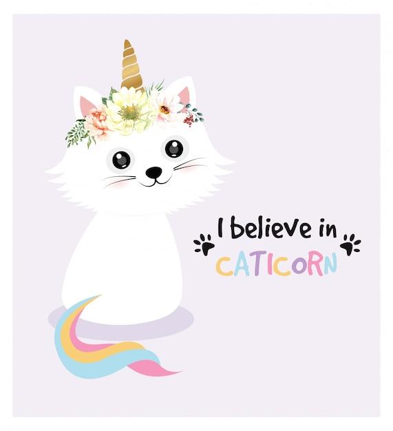 かわいい猫キャラクターユニコーンと水彩画の花の冠。 Premiumベクター