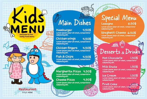 カラフルな子供の食事メニュー Premiumベクター