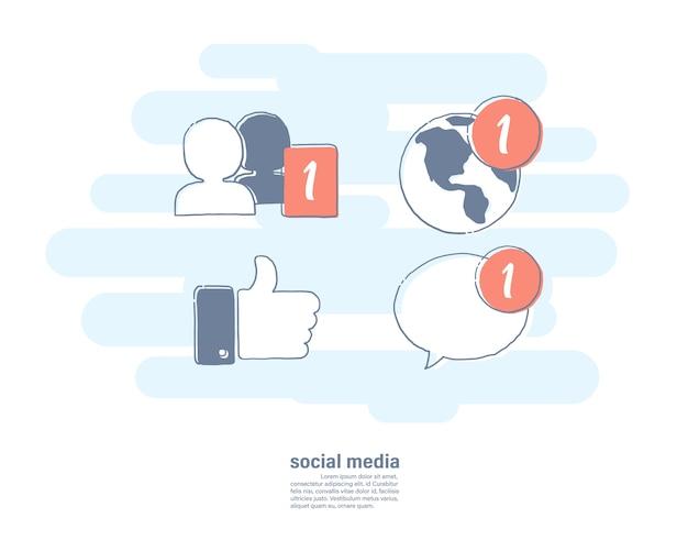 Значок социальных сетей. Premium векторы