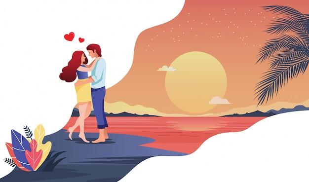愛情のあるカップルの新婚旅行 Premiumベクター