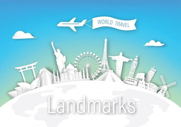 Мир туристических достопримечательностей архитектуры европы, азии и америки Premium векторы
