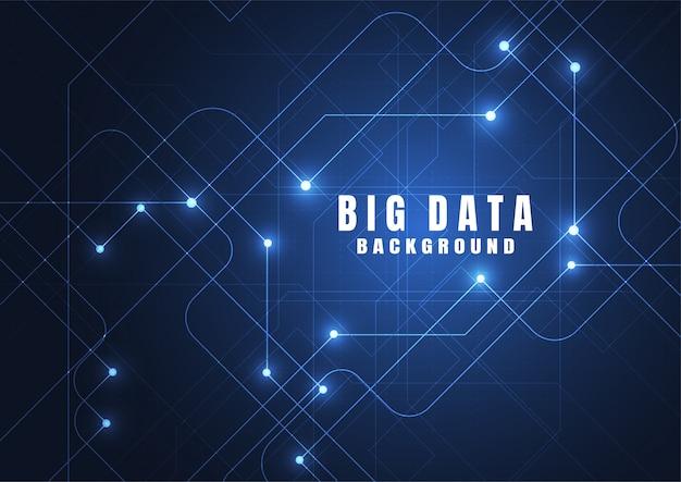 ビッグデータと抽象的な技術の背景。 Premiumベクター