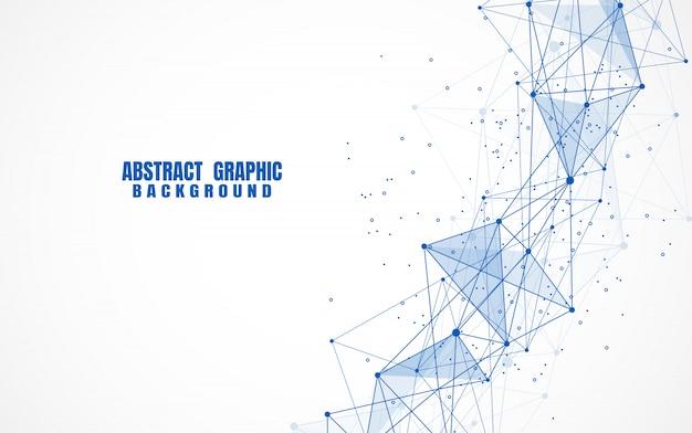 抽象的な点と線と幾何学的な背景を持つ Premiumベクター