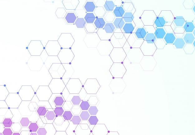 抽象的な六方分子構造 Premiumベクター