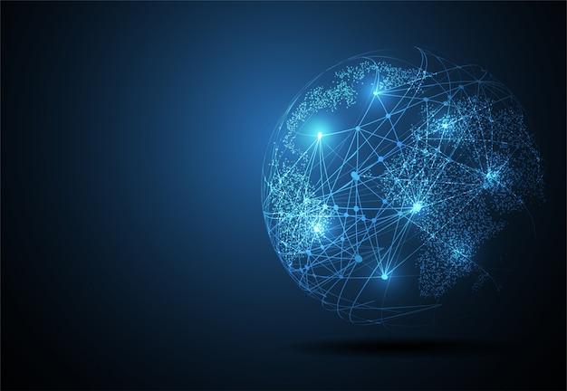 グローバルネットワーク接続、世界地図ポイント Premiumベクター