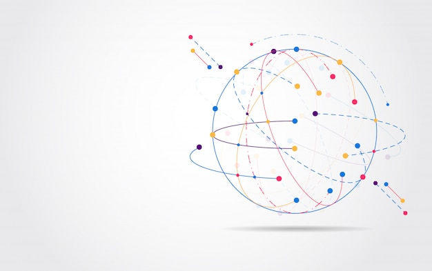 グローバルネットワーク接続。世界地図ポイント Premiumベクター