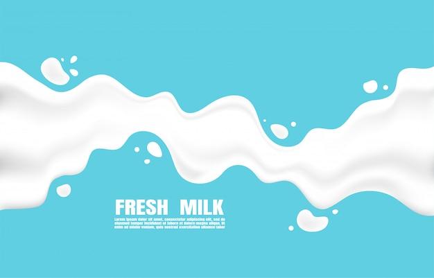 明るい青の背景にはねかけるポスター新鮮な牛乳 Premiumベクター