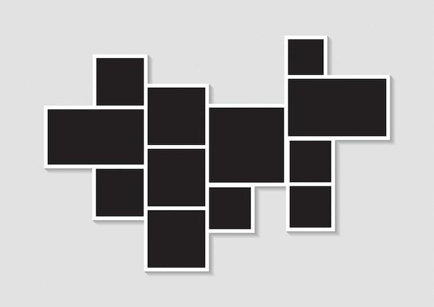 写真または画像モンタージュのテンプレート写真コラージュ画像フレーム Premiumベクター
