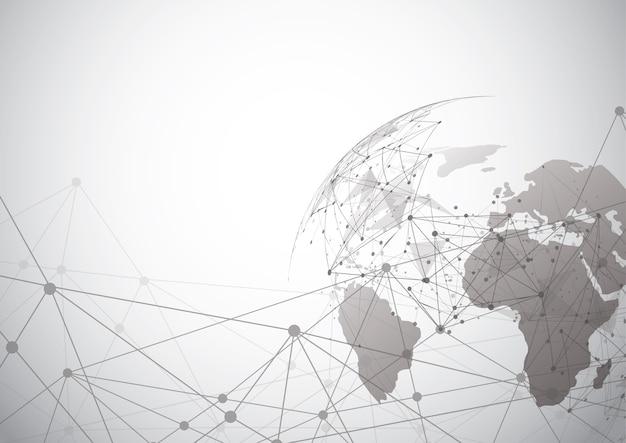 グローバルネットワーク接続。世界地図点 Premiumベクター
