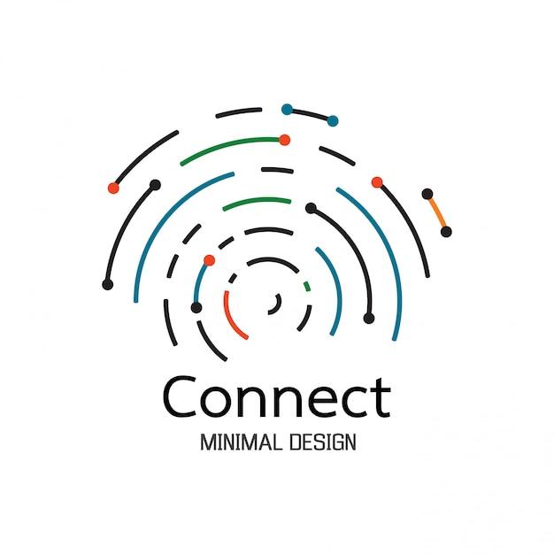 抽象的なネットワーク接続。アイコンロゴデザイン Premiumベクター