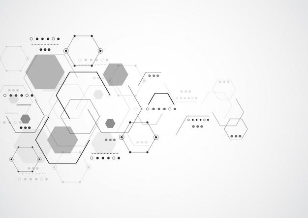 Абстрактные гексагональные молекулярные структуры Premium векторы
