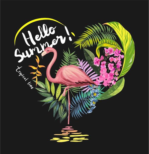 Тропические цветы с фламинго иллюстрации Premium векторы