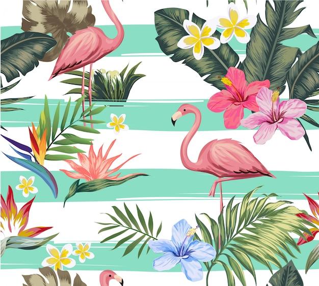 シームレスな熱帯の花とフラミンゴのイラスト Premiumベクター
