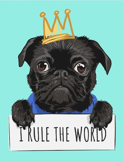 Мультфильм черная собака держит знак и корону иллюстрации Premium векторы