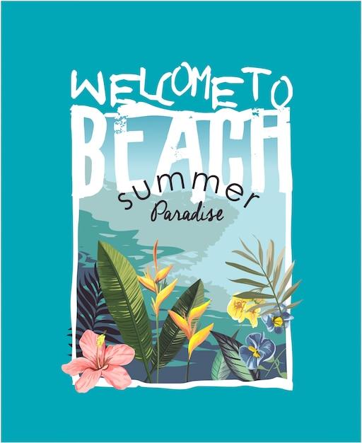 Слоган с тропическим пляжем и цветочной иллюстрацией Premium векторы