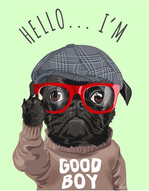 Мультфильм собака в очках и свитере Premium векторы