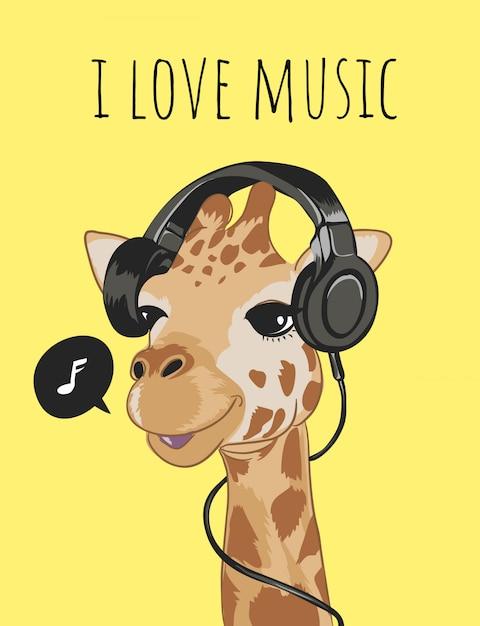 ヘッドフォンにキリンと「私は音楽が大好きです」というスローガン Premiumベクター