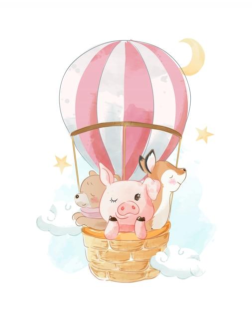 Мультфильм животных на воздушном шаре иллюстрации Premium векторы