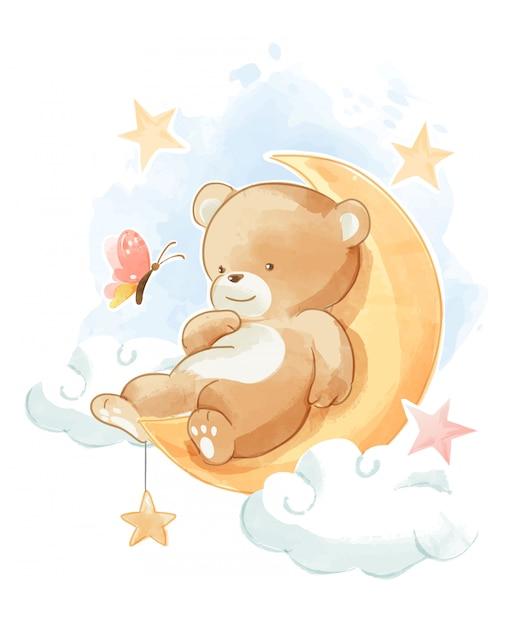 月のイラストで寝ているかわいいクマ Premiumベクター