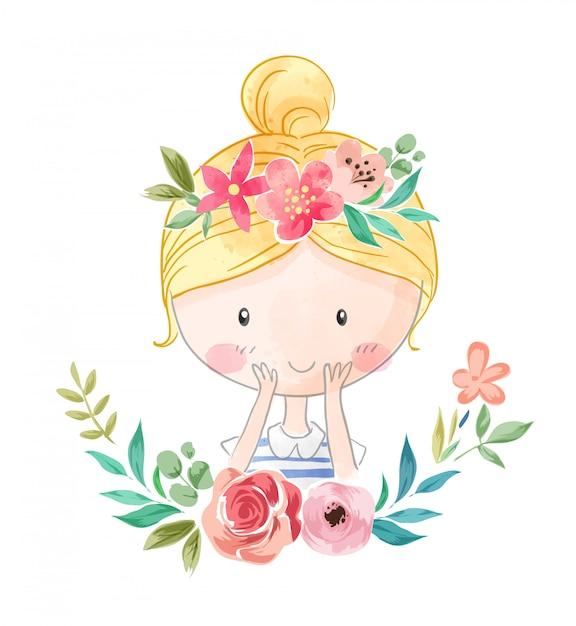 Мультфильм милая девушка в цветочной короне иллюстрации Premium векторы