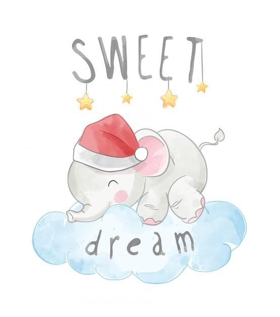 雲の上で眠っている小さな象の甘い夢のスローガン Premiumベクター