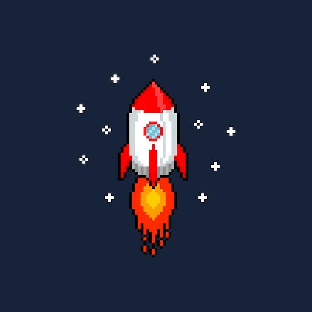 ピクセルアート漫画飛行ロケット。 Premiumベクター