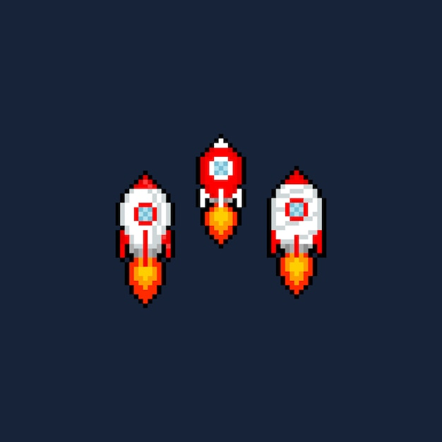 Пиксель арт мультфильм ракета значок набор. Premium векторы