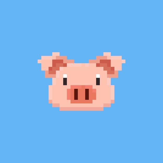 ピクセルの豚の頭 Premiumベクター