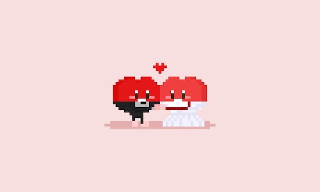 Пиксель счастливым сердцем персонаж с свадебной одежды. Premium векторы