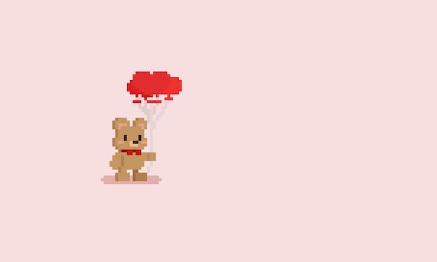 Пиксель медвежонок держит воздушные шары Premium векторы