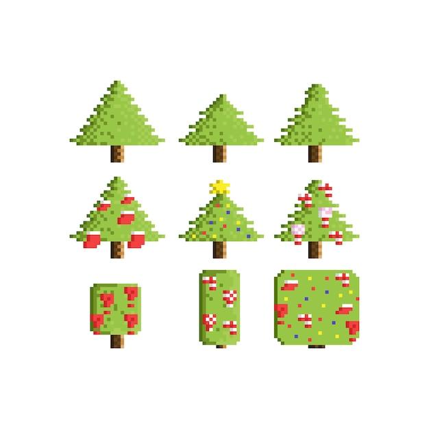 ピクセルクリスマスツリーを設定します。 Premiumベクター