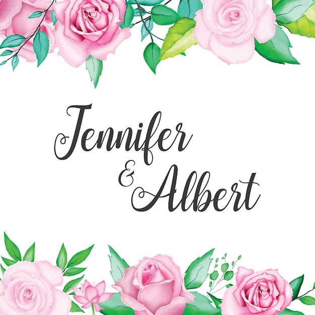 美しい水彩画の花の結婚式カードテンプレート Premiumベクター