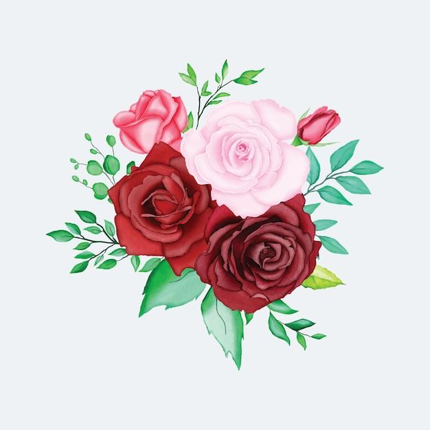 美しい水彩画の花の要素 Premiumベクター
