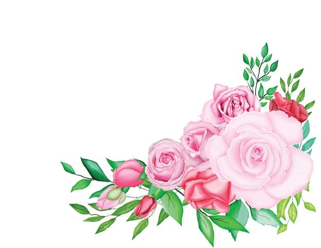 水彩画と美しい結婚式のカード Premiumベクター