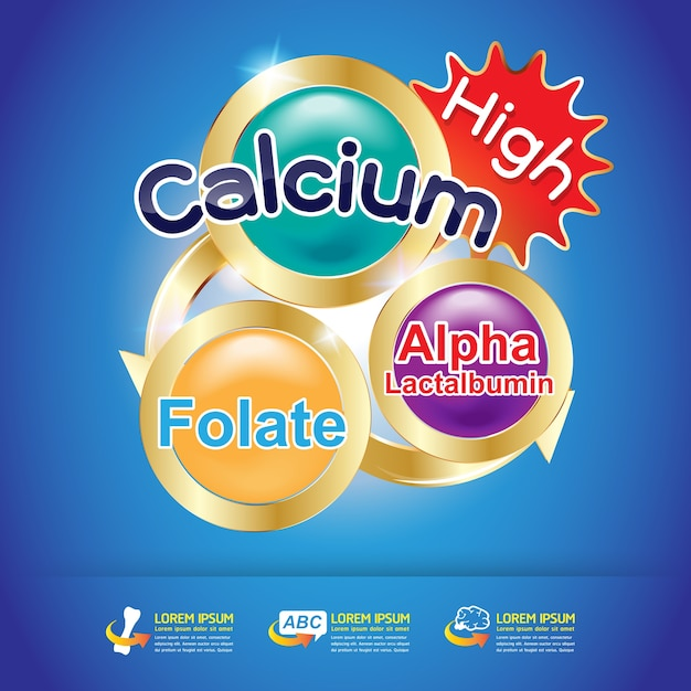 製品のためのカルシウムとビタミンのロゴ概念のベクトル。 Premiumベクター