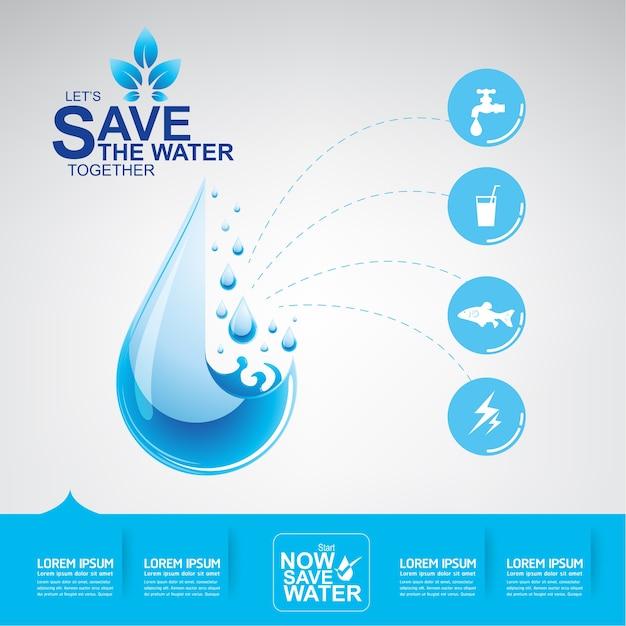 水ベクトルの水は人生を保存する Premiumベクター