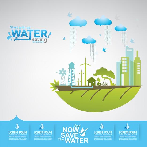 Сохранить концепцию воды вода - это жизнь Premium векторы
