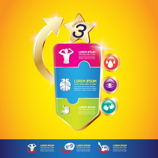 Омега-витамин и питательные вещества для детей векторный концепт Premium векторы