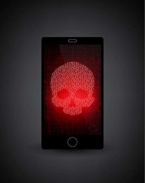 壊れたスマートフォン。スマートフォンでのマルウェア通知。ウイルス、悪意のあるアプリケーションの報告 Premiumベクター