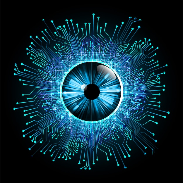 青い目のサイバー回路の将来の技術コンセプトの背景 Premiumベクター