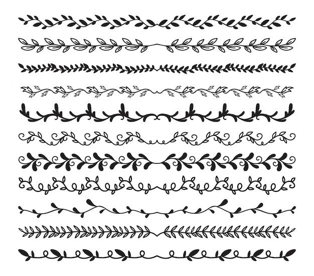 手描きの罫線の要素セット Premiumベクター