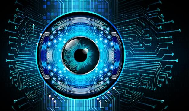 青い目のサイバー回路将来の技術コンセプトの背景 Premiumベクター