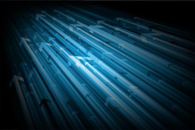 青い矢印の抽象的な背景。 Premiumベクター